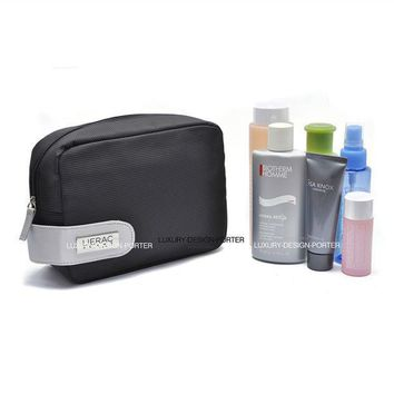 Designer Black Business Men Toiletry Bag Travel Organizer Cosmetic Bag