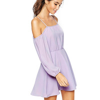 Purple Off Shoulder  Ruffle Spaghetti Strap Dress