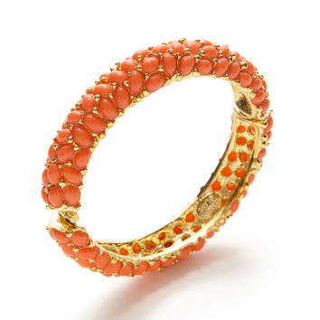 Kenneth Jay Lane Women's Coral Cabachon Bangle Bracelet - Orange