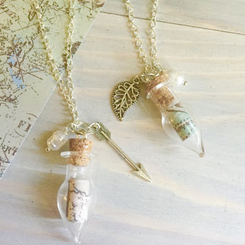 Wanderlust Necklace - Map Nacklace - Travel Necklace - Travel Gift - Map Jewelry - Gypsy Jewelry - Tiny Bottle Necklace - Map in a Bottle