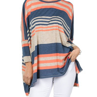 Stripe High-Low Hem Tunic Top