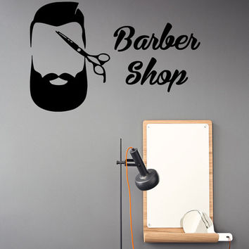 Barber Shop Wall Decals Scissors Men Hair Stylist Beard Hairdressing Salon Design Interior Art Vinyl Decal Sticker Beauty Salon Decor kk844