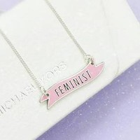 Feminist Banner Charm Necklace in Blush Pink