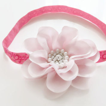 Baby pink chiffon flower headband - pink princess headband, toddler headband,girls headband, newborn photo prop, baby headband, UK seller
