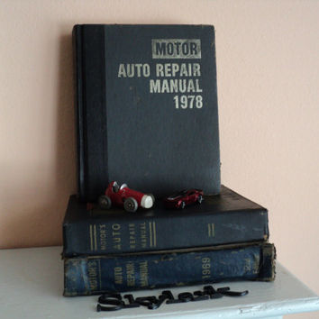 Motor Auto Repair Manual 1978 Gilt Edged and Ribbon Bookmark Thumb Index, Vintage Car Book, Man Cave Decor, Garage Auto Manual, Gift for Him