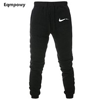 Men Print logo Cotton Jogger Pants Spring Autumn Male Casual Elastic Fitness Baggy Trousers Mens Fleece Warm Winter Sweatpants
