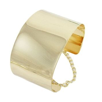 Fashion Jewelry Exaggerated Wide Face Punk Wide Flat Silver Bracelet Women Mirror Cuff Retro Big Gold Bangles