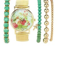 Multi Floral Watch & Bracelets - 5 Pack by Charlotte Russe