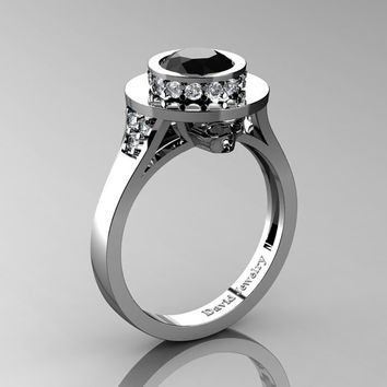 Top Hat Skull 14K White Gold 1.0 Ct Black and White Diamond Solitaire Engagement Ring R1025-14KWGDBD