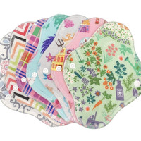 """Set of 7) 8"""" Flannel/Anti pill fleece  (random prints) every day cloth panty liners, set panty liners, reusable menstrual pad"""