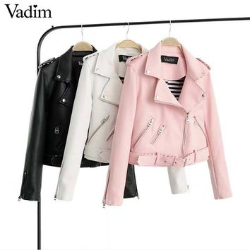 Vadim women basic faux PU leather short motorcycle jacket zipper pockets sexy punk coat ladies casual outwear tops CT1533