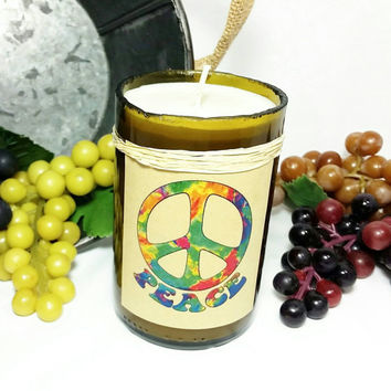 Recycled Wine Bottle Soy Wax Candle/Peace Lover Repurposed Glass Bottle Candle/Marijuana Scent/Mary Jane 420 Weed Hippie Tie Dye Candle
