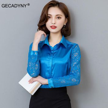 GECADYNY Spring and Fall New Arrival 2017 Hot Sale Female Lace Casual Silk Blouse Slim Women Silk Shirt Plus Size