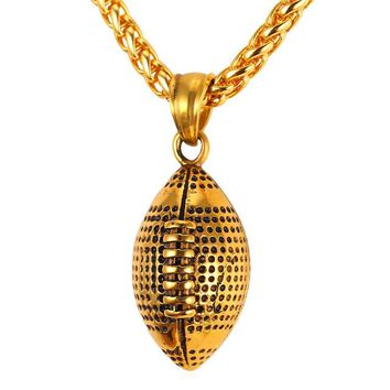 Necklace Fashion Jewelry Sport Gold Color Stainless Steel Workout American Football Fitness Chain & Pendant Ball