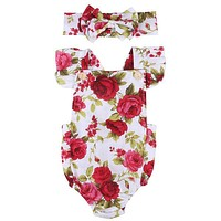 Floral Newborn Infants Baby Girls Sets Good Quality Flower Rompers Jumpsuits + Bowknot Headband 2PCS Cute Outfits Sunsuits