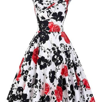 Print floral 50s 60s vintage dresses sleeveless polka dots floral pattern retro vintage retro dress vestidos robe womens