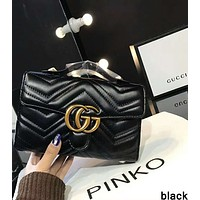 GUCCI 2018 counter models trendy women's high quality handbag chain bag F-AGG-CZDL Black