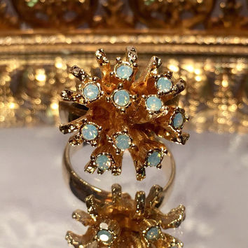 Vintage Sarah Coventry Moonstone Opal Gold Cluster Ring Adjustable Size 5 6 7 8 9 Signed Sarah Coventry