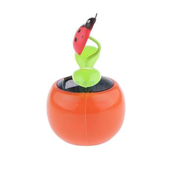 Cute Solar Powered Flowerpot Shaking Toy ABS Resin Flip Flap Dancing Toy Random Type