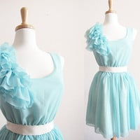 Tiffany Blue Chiffon Ruffles BridesMaid marie by CGHeaven on Etsy