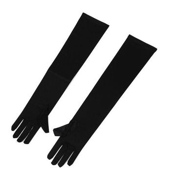 ac PEAPO2Q KSFS Elegant Pair of Sexy Long Gloves Black 50cm EMO PUNK party