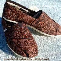 Handpainted Custom Toms Shoes Southwestern Design by FancyToms