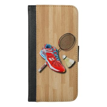 Badminton Shoe Racket Shuttlecock With Your Name iPhone 6/6s Plus Wallet Case
