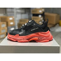 Balenciaga Triple S Clear Sole Trainers Black/Red Sneakers 35-45