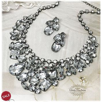 Chunky Crystal Bib Necklace & Earrings Bridal Jewelry Set