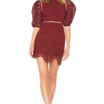 Scallop Eyelet Lace Open Back Mini Dress
