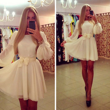 FASHION PURE COLOR LONG-SLEEVED DRESS