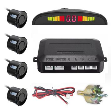 One Set Led Parking Sensor Auto Car Detector Backup Radar Monitor System with 4 Sensors