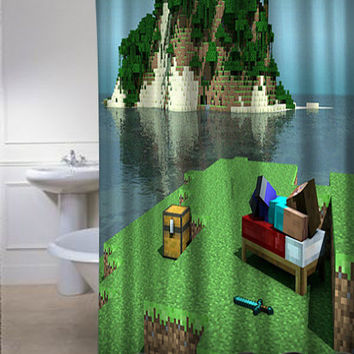 Minecraft Mine Craft Personalized Custom Shower Curtain