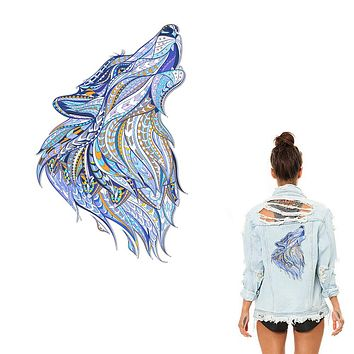 XC Heat Press Transfers Animal Clothes Patch Wolf Household Iron-on Stickers Patch DIY Decoration Appliqued for Top Coat