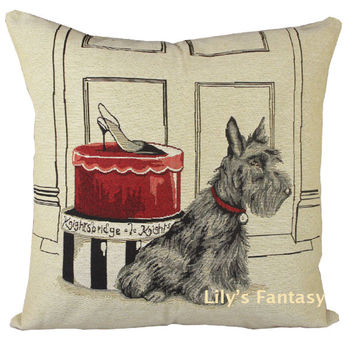 Retro Vintage Scottish Terrier Dog Pet Shoe Box Home Decorative Thick Knitted Cotton Linen Pillow Case Cushion Cover 18'' 45CM