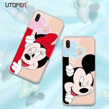 UTOPER Mickey Mouse Shell For Huawei P20 Case Silicone Phone Cases For Huawei P20 Pro Lite Case Cover For  Honor 7C Y9 2018 Case