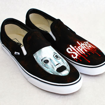 39825154f870b6 Custom Black Canvas Slipknot Vans - Hand from bstreetshoes.com