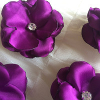 Purple Sew on flowers Embellishment satin crystals bling couture blossoms 3D decoration applique ornament for DIY weddings