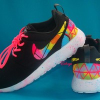 Custom Nike Graffiti Roshes Asymmetrical Design