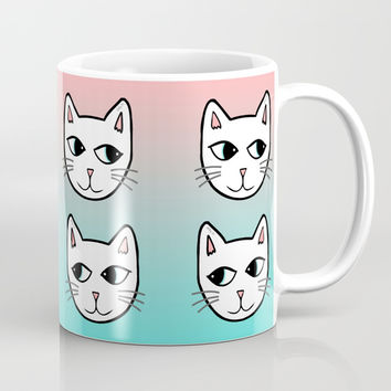 Whimsical White Cats Mint Pink Pattern Mug by Artist Abigail