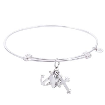 Sterling Silver Tranquil Bangle Bracelet With Faith,Hope,Charity Charm