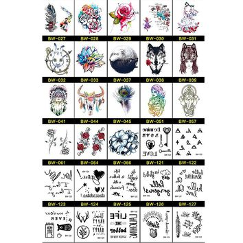 30pcs Watercolor Drawing Animal Body Tattoo Black Elephant Dragon Temporary Tattoo Sticker Art Fashion