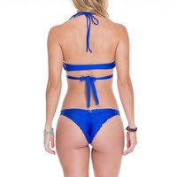 Luli Fama Electric Blue Strappy Brazilian Bottom