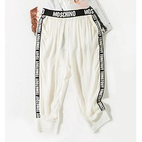 """Moschino"" Fashion Summer Women Print Thin Style Sport Stretch Pants Trousers Sweatpants"