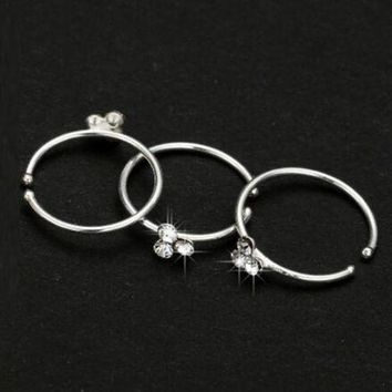 ac PEAPO2Q Wig Thin 3 Crystal Silver Diamante Nose Ring Hoop Stud-Sparkly Crystal Nose Ring Earrings M8694