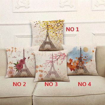 Franch Paris Flowers Pattern Cotton Linen Cushion Cover Season Life Eiffel Tower Pillow Cover Chair Waist Pillowcase 18x18 inch