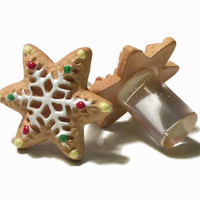 1/2 7/16 00g 0g 2g 4g 1 PAIR Holiday Christmas Snowflake Cookie Plugs Gauges OR Stud Earrings - Perfect for everyday Special Occasion