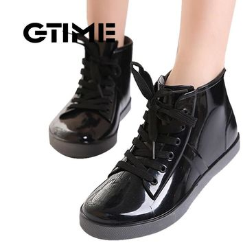 GTIME Lace-Up Rain Boots Fashion Solid Ladies Flats Ankle Boots Casual Silver Women B