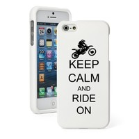 Apple iPhone 5c CH487 White Rubber Hard Case Snap on 2 Piece Keep Calm and Ride On Dirt MX Motocross Bike