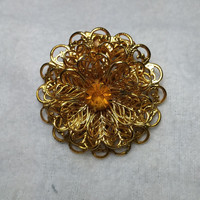 Flower Sweater Clip Gold Tone and Orange Rhinestone